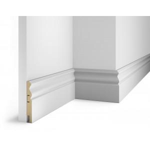 Плинтус под покраску, белый, 115x16x2400 мм, с пазом, AP14