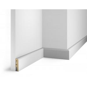 Плинтус под покраску, белый, 60x16x2400 мм, с пазом, AP02