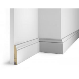 Плинтус под покраску, белый, 100x16x2400 мм, с пазом, AP10