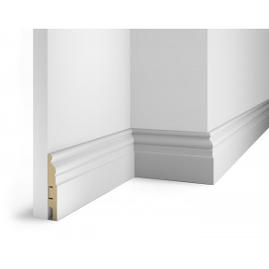 Плинтус под покраску, белый, 102x16x2400 мм, с пазом, AP18