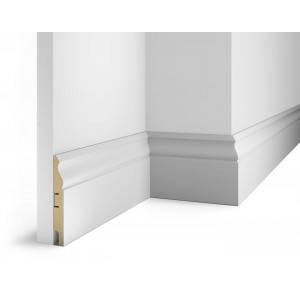 Плинтус под покраску, белый, 125x16x2400 мм, с пазом, AP21