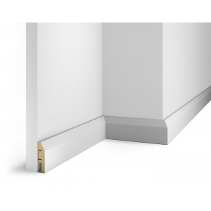 Плинтус под покраску, белый, 60x16x2400 мм, с пазом, AP04