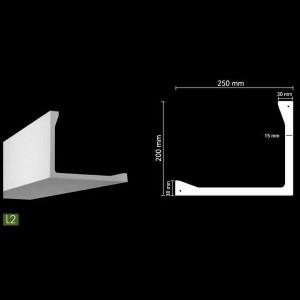 Гладкий потолочный профиль для скрытого освещения. L2